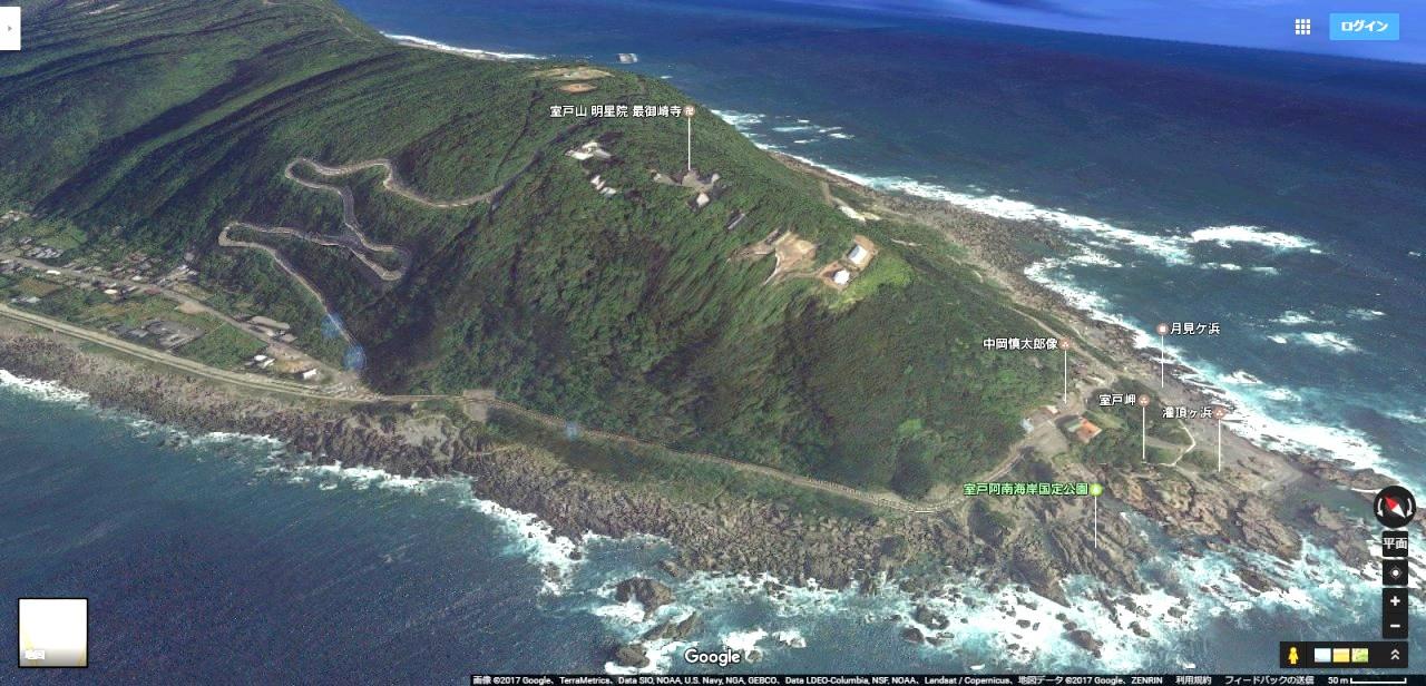 室戸岬Googleマップのキャプチャ