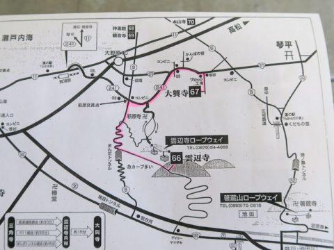 ロープウェイ山麓駅でもらった地図
