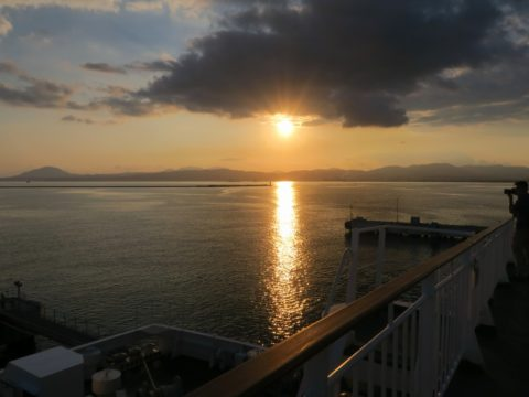 津軽海峡フェリー夕日