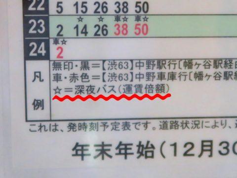 深夜バス時刻表