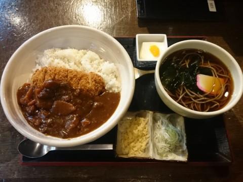 高田屋竹橋店カツカレーと蕎麦セット