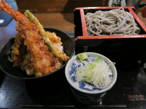 高田屋竹橋店天丼とごまそばのセット